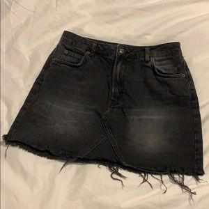 Topshop Moro Black Denim Mini Skirt
